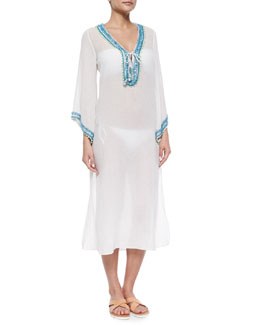 Bhadra Sheer Embroidered Caftan, White