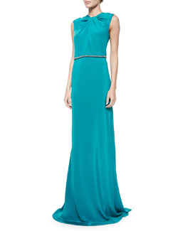 Sleeveless Embellished-Waist Gown, Peacock