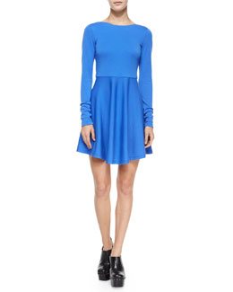 Alice + Olivia Brinley Long-Sleeve Fit-and-Flare Mini Dress, Cobalt