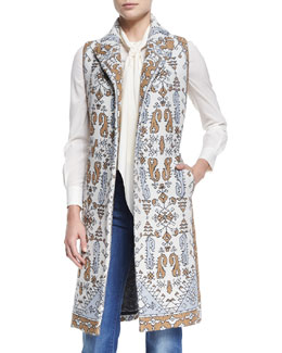 Tory Burch Printed Jacquard Long Vest