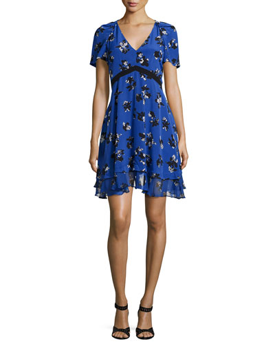 Short-Sleeve Floral Silk A-Line Dress, Electric Blue