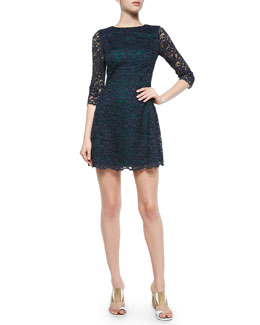 Tory Burch 3/4-Sleeve Lace Dress