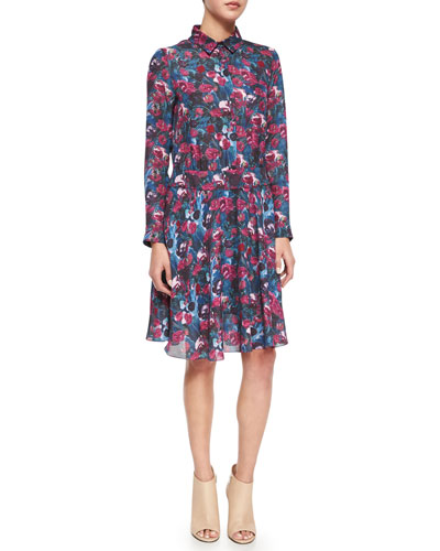 Long-Sleeve Floral-Printed Henley Shirtdress