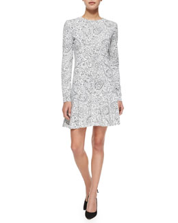 Tory Burch Long-Sleeve Doodle-Print Dress