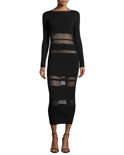 Long-Sleeve Mesh-Trim Midi Dress, Black