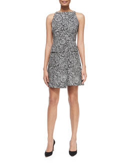 Tory Burch Paisley Doodle Sheath Dress, Black/White