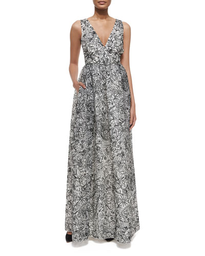 Floral Multipattern Silk Organza Gown, Ivory/Black