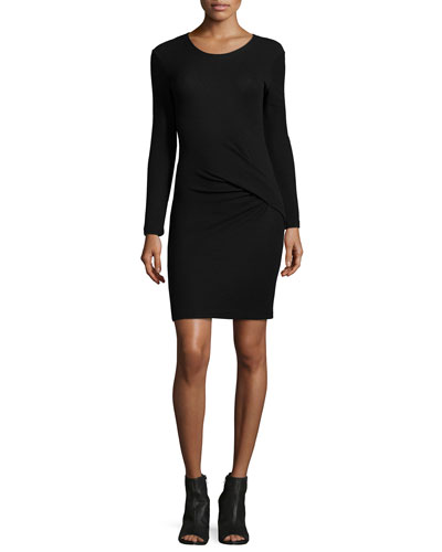 Aenor Twist-Front Long-Sleeve Dress, Black