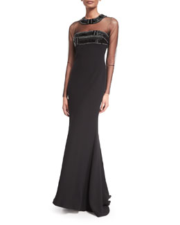 Carmen Marc Valvo Long-Sleeve Illusion-Neck Beaded-Top Gown