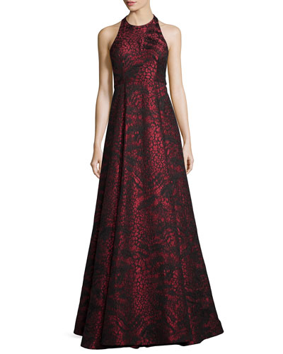 Sleeveless Jacquard/Leather T-Back Gown