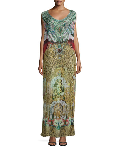 Alerting Perception Round-Neck Mixed-Print Sleeveless Caftan