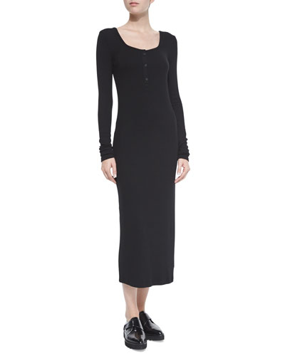 Fitted Long Henley Dress, Black