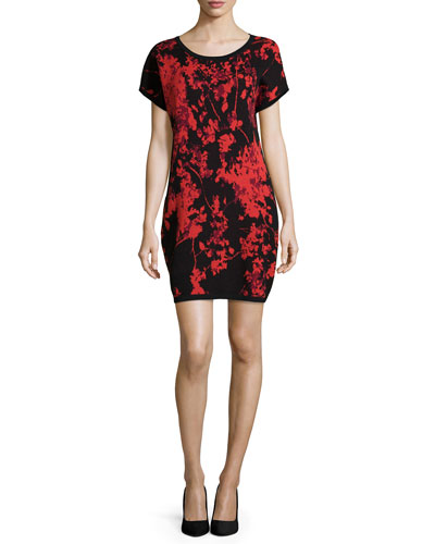 Alix Floral Daze Wool Sheath Dress, Black/Red