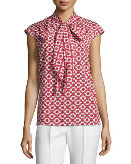 Tory Burch Cap-Sleeve Neck-Tie Blouse, Red Pattern