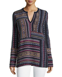 Tory Burch Long-Sleeve Patchwork Jacquard Sweater