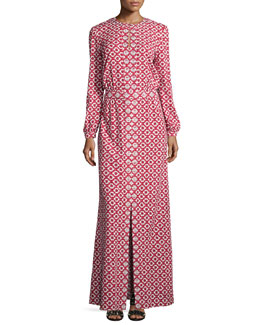 Tory Burch Long-Sleeve Textured Maxi Caftan, Red/White