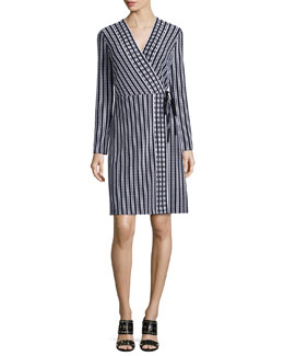 Tory Burch Long-Sleeve Stripe Wrap Dress, Navy