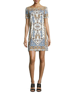 Tory Burch Short-Sleeve Tile-Print Cotton Sheath Dress, Wheat Lisbon
