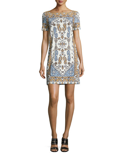 Short-Sleeve Tile-Print Cotton Sheath Dress, Wheat Lisbon