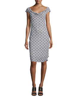 Tory Burch Cowl-Neck Cap-Sleeve Printed Dress, White Pattern