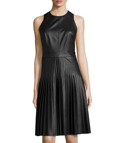 Sleeveless Pleated Faux-Leather Dress, Black
