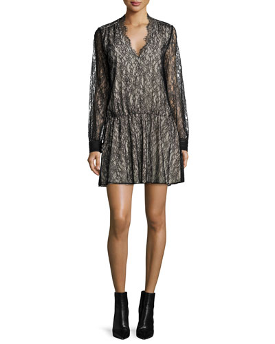 Deena Lace Blouson Dress, Black/Brown