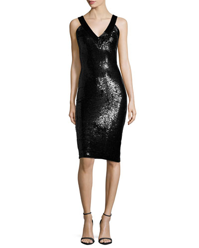 Piera Embellished V-Neck Sheath Dress, Black