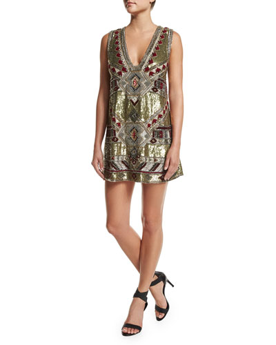 Odell Embellished Caftan Mini Dress, Gold
