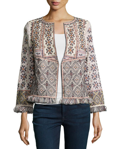 Beranti Patchwork Jacket W/Fringe Trim, Natural
