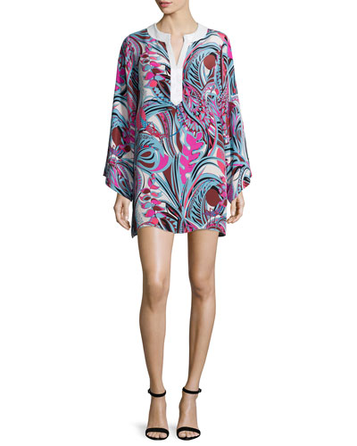 Embellished-Neck Printed Long-Sleeve Caftan Dress