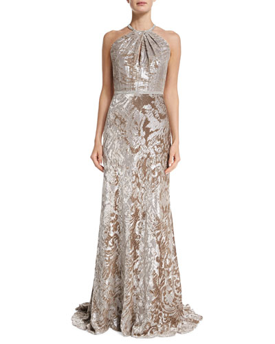Sleeveless Halter Metallic Gown