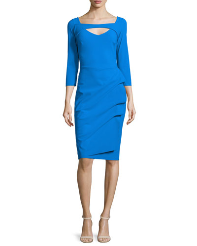 Jovita 3/4-Sleeve Peekaboo Ruched Dress, Cobalt