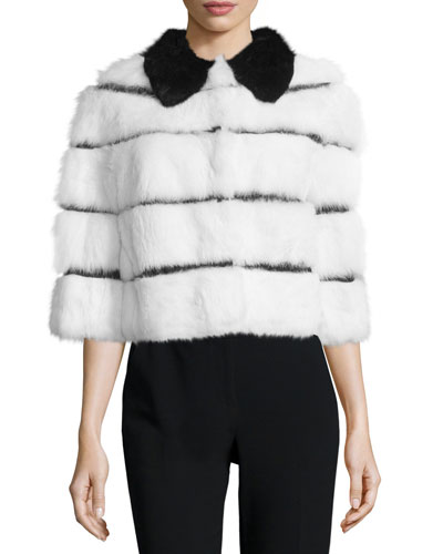 Half-Sleeve Rabbit Fur Jacket w/ Ribbon Insets