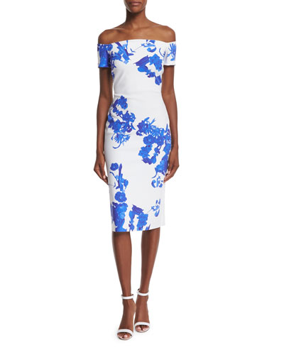 Off-the-Shoulder Floral-Print Sheath Dress