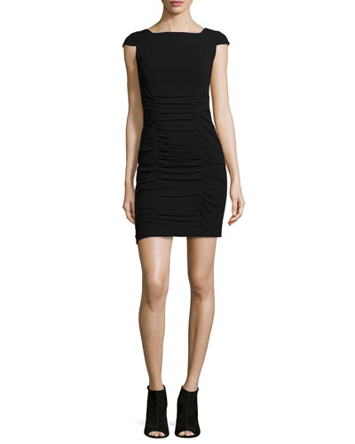 Cap-Sleeve Ruched Sheath Dress, Black
