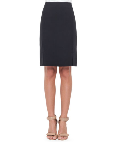 Double-Face Wool Skirt, Navy