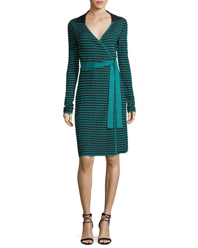 Long-Sleeve Collared Check Wrap Dress