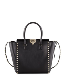 Valentino Rockstud Double-Handle Shoulder Tote Bag, Black