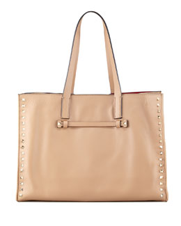 Valentino Rockstud Shopping Tote Bag, Tan