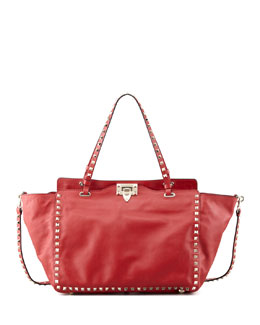 Valentino Rockstud Double-Handle Tote Bag, Red