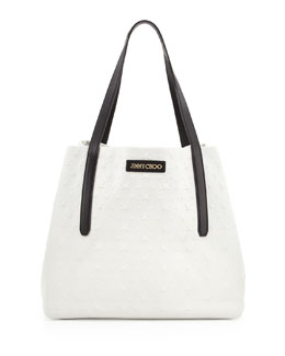 Jimmy Choo Sara Medium Stars-Embossed Tote Bag, White/Black