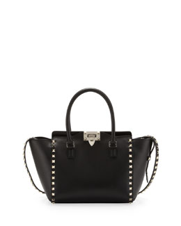 Valentino Rockstud Shopper Tote Bag, Black