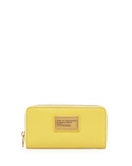 MARC by Marc Jacobs Classic Q Vertical Zip Wallet, Banana Creme