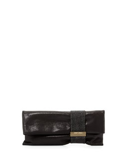 Jimmy Choo Chandra Metallic Chain Clutch Bag, Black
