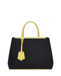 Fendi 2Jours Denim Shopping Tote Bag