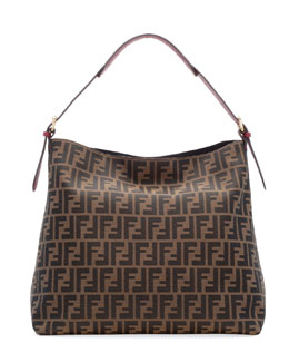 Fendi Zucca-Print Large Canvas Hobo Bag, Brown/Red