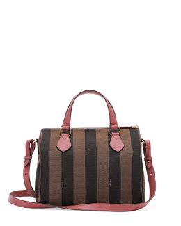 Fendi Pequin Stripe Small Boston Bag, Dark Brown