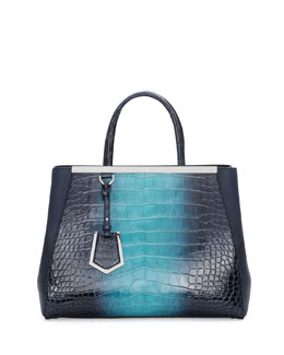 Fendi 2Jours Crocodile Shopping Tote Bag, Navy