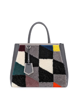 Fendi 2Jours Shearling Tote Bag, Gray