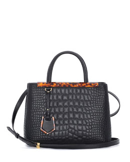 Fendi 2Jours Petit Croc-Stitched Shopping Tote Bag, Black